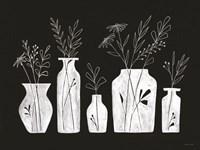 White Line Floral Vases Fine Art Print