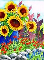 Sunflowers in Blue Vase Fine Art Print