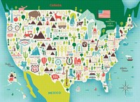 Illustrate USA waves Fine Art Print
