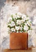 White Flower Clay Pot II Framed Print