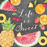 Fresh Fruit Sentiment black I-Sweet Fine Art Print