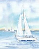 East Coast Lighthouse sailboat panel II Fine Art Print