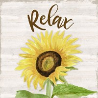 Fall Sunflower Sentiment III-Relax Framed Print