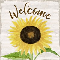 Fall Sunflower Sentiment IV-Welcome Framed Print