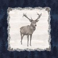 Blue Cliff Mountains II-Deer Framed Print