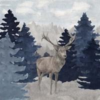 Blue Cliff Mountains scene II-Deer Fine Art Print