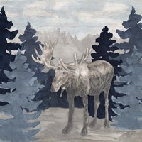 Blue Cliff Mountains scene IV-Moose Fine Art Print