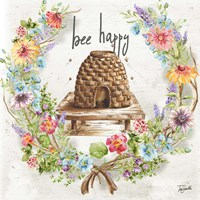 Honey Bee and Herb Blossom Wreath II Framed Print