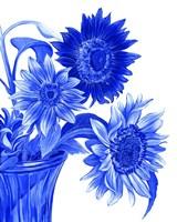 China Sunflowers blue I Fine Art Print