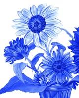 China Sunflowers blue II Fine Art Print
