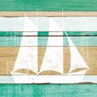 Beachscape V Boat Green Framed Print