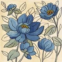 Spring Lace Floral IV Dark Blue Framed Print