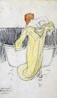 Red-headed Woman in the Bathroom Fine Art Print