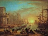 Seaport at Sunset, 1639 Fine Art Print