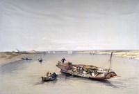 The Nile looking towards the Pyramids of Dahshur and Saqqarah, 19th century Fine Art Print
