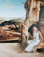 St Jerome Reading in a Landscape, c1450-1516 Fine Art Print