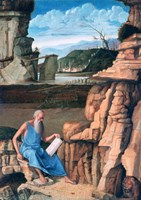 Saint Jerome reading in a Landscape, c1480-1485 Fine Art Print