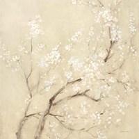 White Cherry Blossoms II Linen Crop Fine Art Print