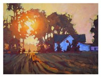 Sunrise Over Farmhouse Fine Art Print
