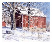 Red Barn in Winter Fine Art Print