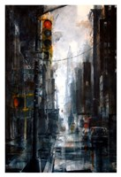 Broadway and Howard Street, rain Fine Art Print
