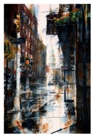 Transfiguration Church, Mott street, rain Fine Art Print