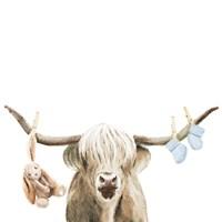 Highland Cow Baby Boy Fine Art Print