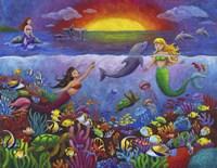 Underwater Mermaids Sunset Fine Art Print