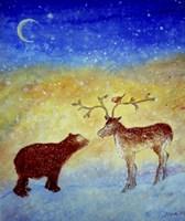 Bear And Deer Meeting Under The New Moon Fine Art Print