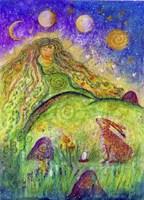 Goddess Ostara And The Spring Hare Fine Art Print