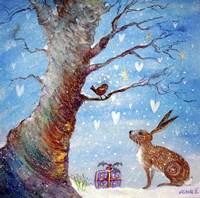 Hare And His Good Friend Robin Fine Art Print