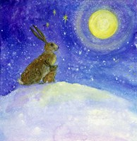 Hare And His Mother Moon Gazing Fine Art Print