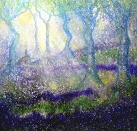 Hare In Bluebell Woods With Tree Goddess Fine Art Print