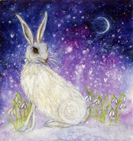 Winter Hare And The Moon Fine Art Print