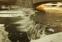 Waterfalls In Winter At Sunset Fine Art Print