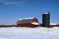Barn And Silo In Winter Fine Art Print