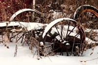 Broken Antique Wagon In Snow Fine Art Print