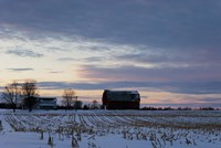 Sunset On Farm In Winter Fine Art Print
