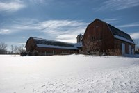 Weathered Barn In Snow Covered Field Fine Art Print
