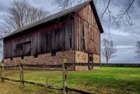 Weathered Barn Under Threatening Sky Fine Art Print