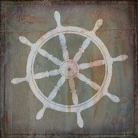 Rusty Sign Nautical Wheel Framed Print