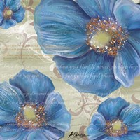 Blue Poppies and Text 1 Fine Art Print