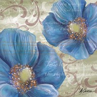 Blue Poppies and Text 2 Fine Art Print