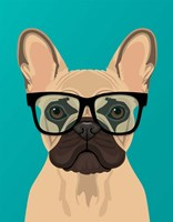 French Bulldog Teal Framed Print