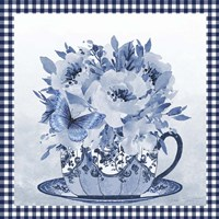 Blue Teacup Bouquet A Framed Print