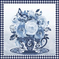 Blue Teacup Bouquet C Framed Print