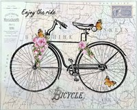 Vintage Bicycle with Map A Framed Print