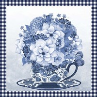 Blue Teacup Bouquet D Framed Print