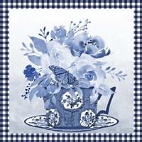 Blue Teacup Bouquet F Framed Print