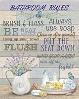 Lavender Bathroom Rules Fine Art Print